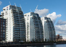 Three Apartment buildings Salford Quays Manchester Stock Photography