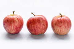 Three apple. Three red apple on white stock photography