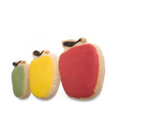 Three Apple Shaped Cookies on White. Three Apple Shaped Cookies Isolated on White royalty free stock images