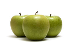 Three Apples. Green Apples Trio Isolated On White Stock Photo