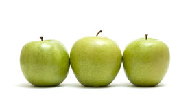 Three Apples. Green Apples Trio Isolated On White Royalty Free Stock Images