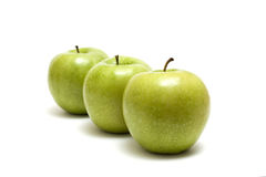 Three Apples. Green Apples Trio Isolated On White Royalty Free Stock Image
