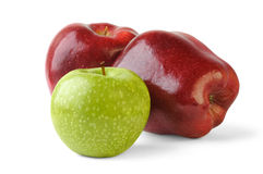 Three apples. Red and green apples over white background stock image