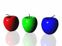 Three apples. 3d three apples, looks like standart coloure scheme Royalty Free Stock Image