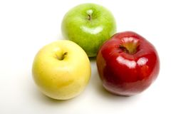 Three apples. Red green and yellow juicy apples Stock Photo