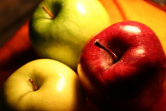 Three apples. On cloth royalty free stock photo