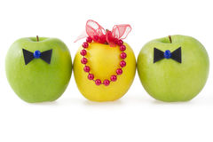 Three apples as a concept of competition Stock Images