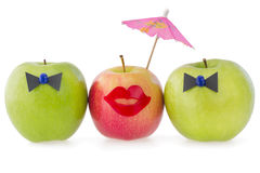 Three apples as a concept of competition Stock Image