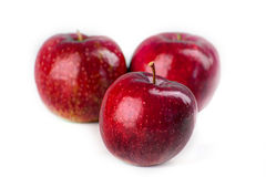 Three apples. Closeup photo of three apples one infront in focus two others blurred Royalty Free Stock Photography