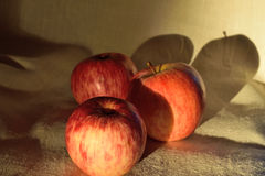 Three apples on the cloth Royalty Free Stock Images