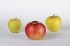 Three apples. Green and red apples on white background Royalty Free Stock Photos