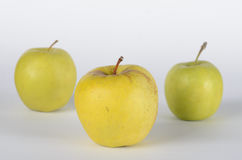 Three apples. Green apples on white background Royalty Free Stock Photos