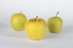 Three apples. Three green apples on white background Stock Images