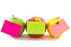 Three apples with memo stickers, horizontal Stock Images