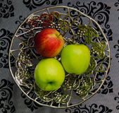 Three apples on a platter. Three apples on a silver platter Stock Photos