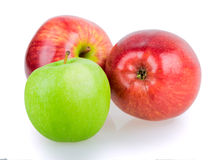 Three apples red green Stock Photo