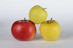 Three apples. Red and green apples on white background Royalty Free Stock Photo
