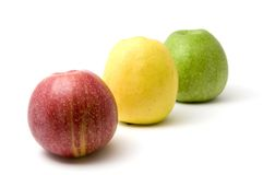 Three apples - red, yellow and green. Three apples isolated on white background Stock Images