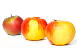 Three apples in a row Stock Image