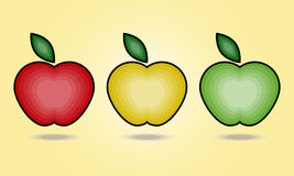 Three apples. Three samples of apples with transitions in three different colors Stock Images