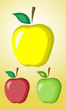 Three apples. A set of three apples, green, red and yellow Stock Photography