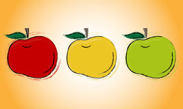 Three apples. A set of three apples, green, red and yellow, with the contours of strokes Stock Images