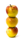 Three Apples. Studio shot of three apples, one on top of the other Stock Photo