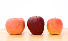 Three apples, three type. Stock Image