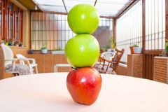 Three apples on top of each other royalty free stock images