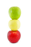 Three apples-in traffic light form. Isolated Royalty Free Stock Photo