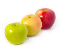 Three apples on white Royalty Free Stock Photos