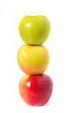 Three apples on white Royalty Free Stock Image