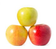 Three apples on white Royalty Free Stock Photography