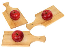Three apples on wood planks Royalty Free Stock Photo