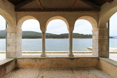 Three arch balcony. With Adriatic sea view Royalty Free Stock Images