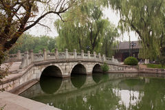 Three-Arch Bridge on Campus of Peking University, Beijing. One of several stone bridges at Peking University Stock Images
