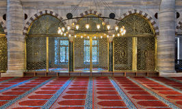 Three arched engraved golden doors at Suleymaniye Mosque, Istanbul, Turkey Royalty Free Stock Image