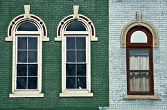 Three arched windows stock image