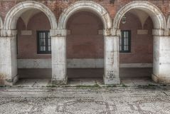 Three arches in the strawberry city of Aranjuez stock photography