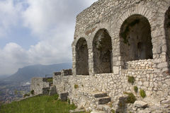 Three arches of the Temple of Jove in Terracina, Italy. Stock Photography