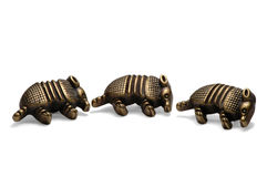 Three Armadillos. Macro of three armadillo buttons Stock Images