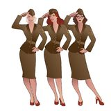 Three army girls in retro style wearing soldiers uniform from the 40s or 50s. Doing military salute vector illustration