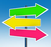 Three Arrow Signs - Which Option Do You Choose? Stock Image