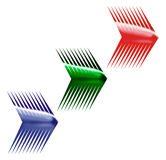 Three arrows. Sharp blue, green and red arrows Royalty Free Stock Images