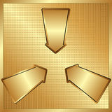 Three arrows. On golden panel Stock Image