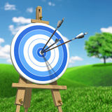 Three arrows on an archery target. Very high resolution illustration of three arrows on an archery target stock illustration