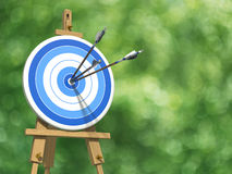 Three arrows on an archery target. Very high resolution illustratione of three arrows on an archery target stock illustration