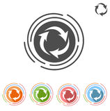 Three arrows in a circle process icon. On a white background isolated on white background royalty free illustration