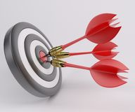 Three arrows darts in center. 3D Render of Three arrows darts in center vector illustration