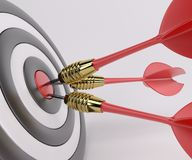 Three arrows darts in center. 3D Render of Three arrows darts in center stock illustration